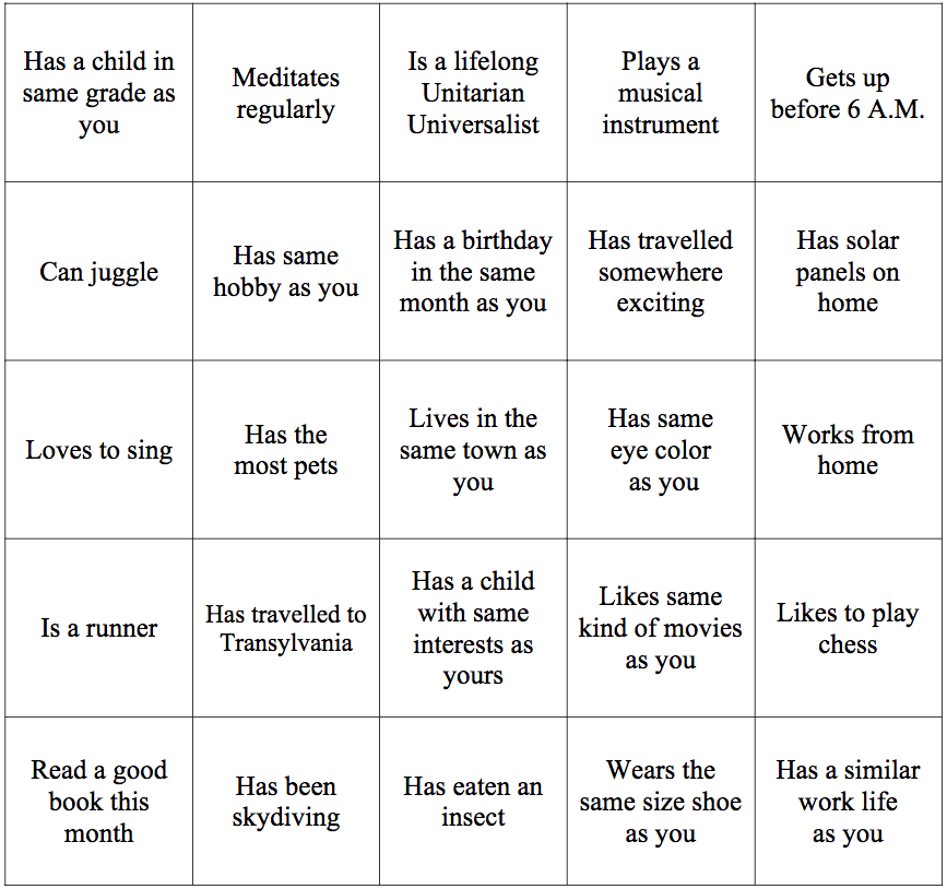 Uu ice breaker bingo peter bowden for Ice breaker bingo template