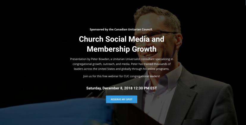SAVE THE DATE: Dec 8, 2018 Webinar for Canadian UnitarianCongregations
